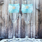Свадебный салон ручной работы. Ярмарка Мастеров - ручная работа Свадебные бокалы с брошами. Handmade.