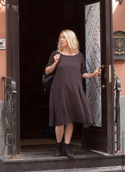 Платье серо-коричневого цвета в горошек art.031e, Платья, Москва, Фото №1