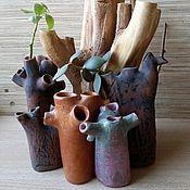Вазы ручной работы. Ярмарка Мастеров - ручная работа Коллекция вазочек-статуэток из керамики. Глазури, ганозис. Стволы. Handmade.
