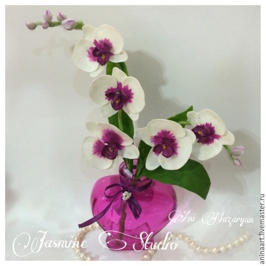Цветы ручной работы. Ярмарка Мастеров - ручная работа. Купить Орхидея из полимерной глины. Handmade. Разноцветный, орхидея фаленопсис