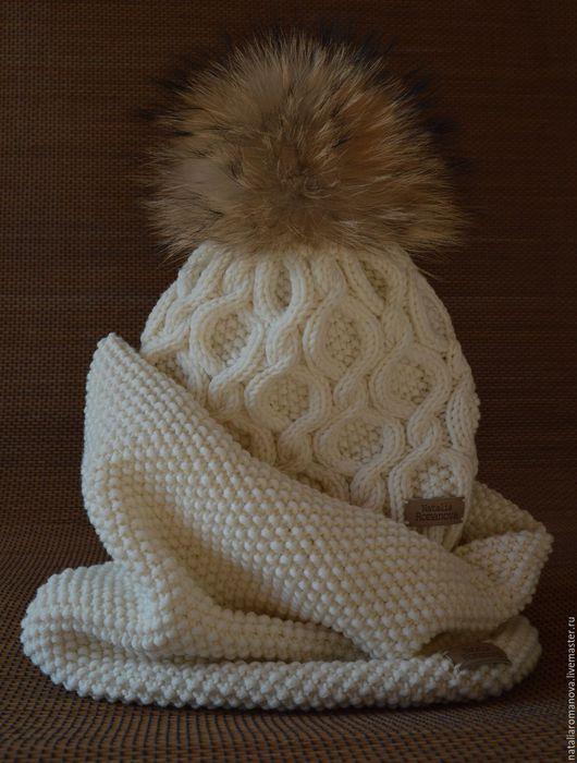 Комплекты аксессуаров ручной работы. Ярмарка Мастеров - ручная работа. Купить Комплект вязаный шапка + шарф Сливочный. Handmade.