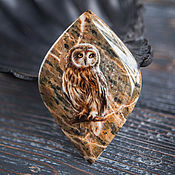 "Сувениры и подарки handmade. Livemaster - original item Lacquer miniature ""Forest Owl"" painted stone green brown boho. Handmade."