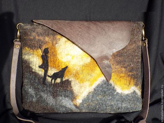 """Мужские сумки ручной работы. Ярмарка Мастеров - ручная работа. Купить сумка валяная """"Странник"""". Handmade. Рисунок, сумка, волк"""