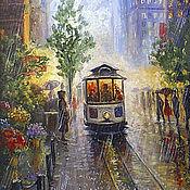 """Картины и панно ручной работы. Ярмарка Мастеров - ручная работа Картина """"Трамвай под дождем"""". Handmade."""
