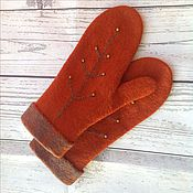 Аксессуары handmade. Livemaster - original item Mittens felted orange branch orange mood. Handmade.