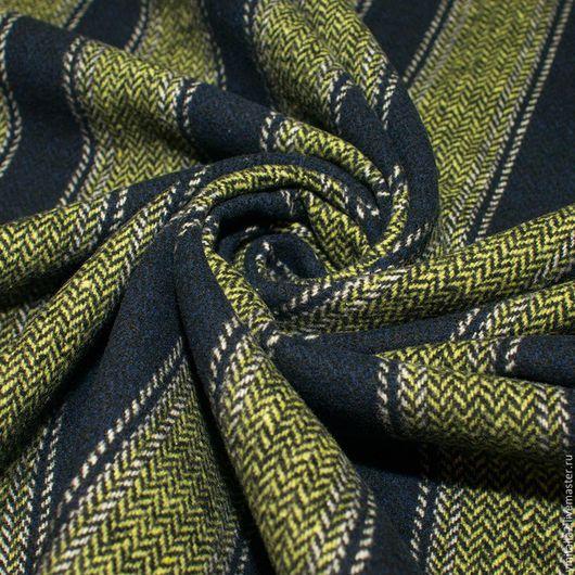 Шитье ручной работы. Ярмарка Мастеров - ручная работа. Купить Шерсть пальтово-костюмная ARMANI в широкую полоску. Handmade. Оливковый