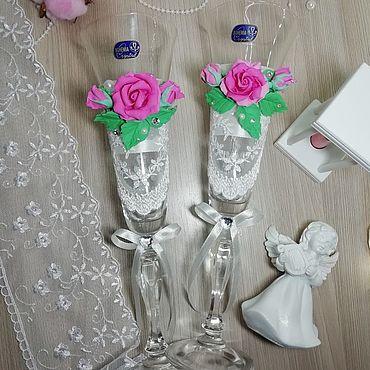 Свадебный салон ручной работы. Ярмарка Мастеров - ручная работа Бокалы: бокалы для молодожёнов. Handmade.