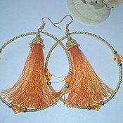 Украшения handmade. Livemaster - original item Earring of the brush ring orange 037 9cm.. Handmade.