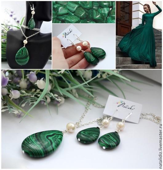 """Свадебные украшения ручной работы. Ярмарка Мастеров - ручная работа. Купить Комплект """"Малахитовая принцесса"""". Handmade. Зеленый, изумрудный, жемчуг"""