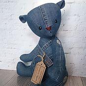 Куклы и игрушки ручной работы. Ярмарка Мастеров - ручная работа Интерьерная текстильная игрушка Джинсовый мишка. Handmade.