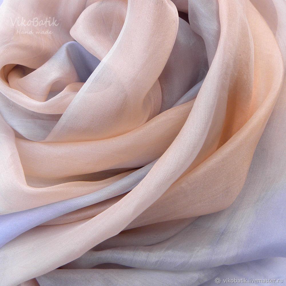 Batik stole 'Gentle dawn' Silk 100%, Wraps, Kislovodsk,  Фото №1
