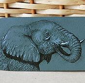 Украшения ручной работы. Ярмарка Мастеров - ручная работа Браслет кожаный с росписью Слон. Handmade.