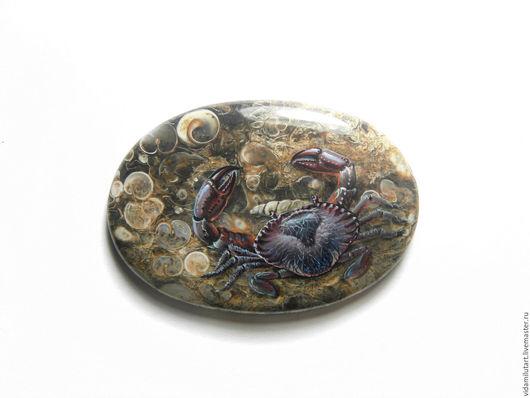 Роспись по камню ручной работы. Ярмарка Мастеров - ручная работа. Купить Краб на черепаховом агате. Handmade. Краб, агат