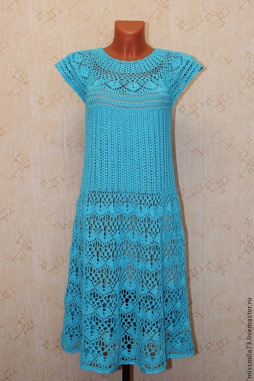 """Платья ручной работы. Ярмарка Мастеров - ручная работа. Купить платье крючком ажурное на круглой кокетке """"бирюзовые волны"""". Handmade."""