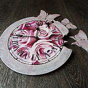 Для дома и интерьера handmade. Livemaster - original item Clock with flying butterflies