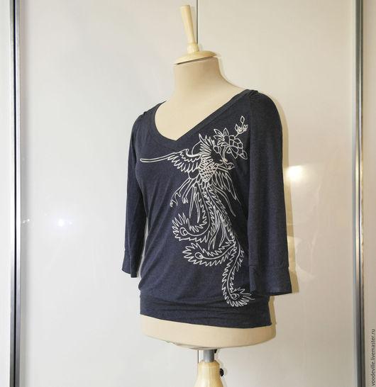 Одежда. Ярмарка Мастеров - ручная работа. Купить Блуза с вырезом на спине. Handmade. Синий, вискоза