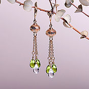 Украшения handmade. Livemaster - original item Earrings in gold with delicate bead and colored drops. Handmade.