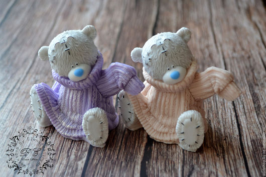 Мыло ручной работы. Ярмарка Мастеров - ручная работа. Купить Мишка Тедди в свитерке. Handmade. Фиолетовый, Праздник, крафт пакет