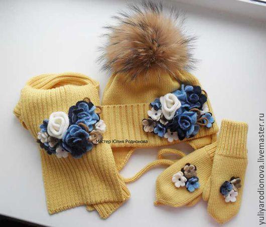 Шапки и шарфы ручной работы. Ярмарка Мастеров - ручная работа. Купить Зимний мериносовый комплект. Handmade. Лимонный, однотонный