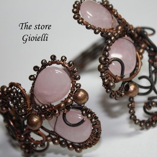 """Браслеты ручной работы. Ярмарка Мастеров - ручная работа. Купить Браслет """"Ранняя клубника""""-розовый кварц и ажурная медь. Handmade."""