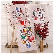 Для дома и интерьера handmade. Livemaster - original item A set of towels made of matting Funny gnomes 3 pcs multi-colored. Handmade.