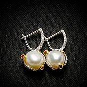 Earrings handmade. Livemaster - original item Large silver earrings with natural pearls. Handmade.
