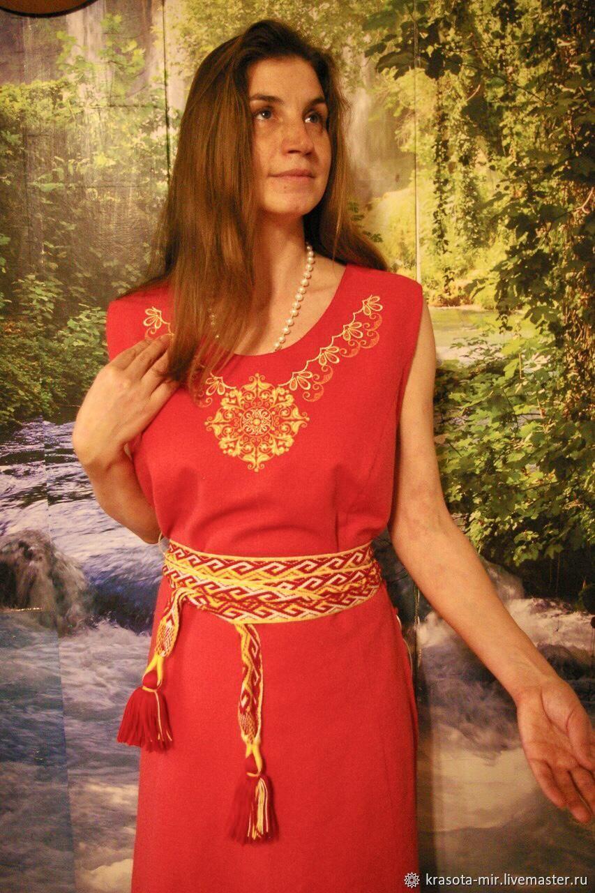 Накидка льняная со шнуровкой, Народные платья, Санкт-Петербург,  Фото №1