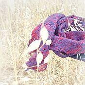 Аксессуары ручной работы. Ярмарка Мастеров - ручная работа Шелковая импровизация шарф валяный на шифоне синий красный купить. Handmade.