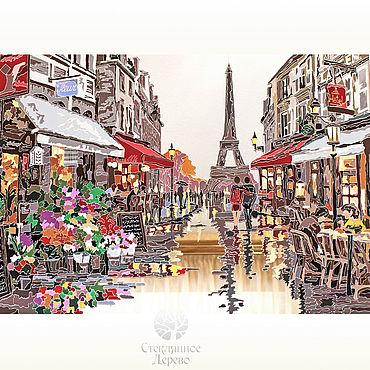 """Картины и панно ручной работы. Ярмарка Мастеров - ручная работа «Цветочный магазин в Париже"""" витражная картина на зеркале. Handmade."""