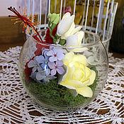 Цветы и флористика ручной работы. Ярмарка Мастеров - ручная работа Ваза-шар с цветами. Handmade.