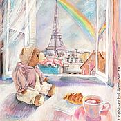 Картины и панно ручной работы. Ярмарка Мастеров - ручная работа Картина А в Париже этим утром дождь... Медвежонок Тим. Радуга.  Гуашь.. Handmade.