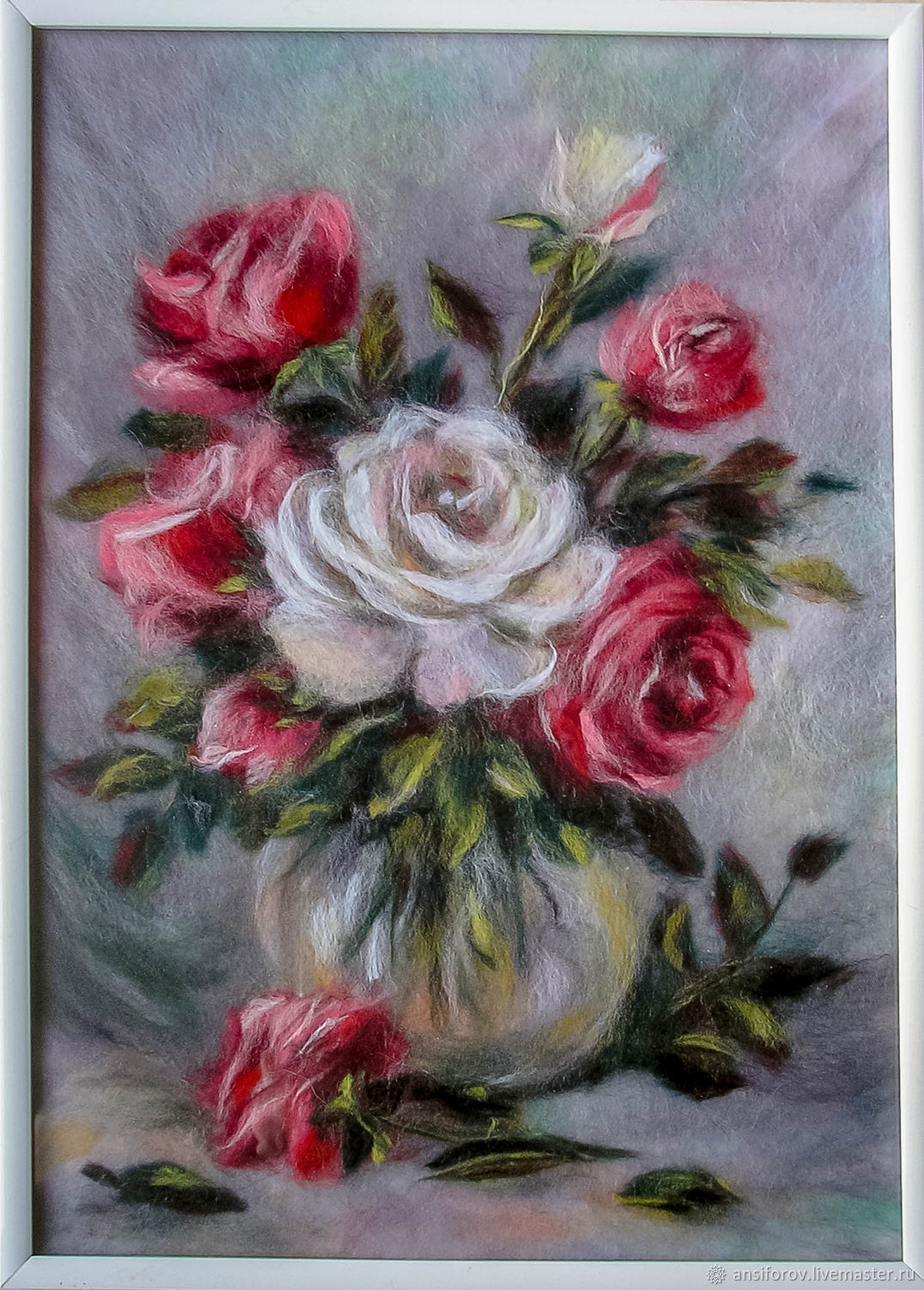 The picture is made of wool still life with roses, Pictures, Engels,  Фото №1