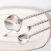 Комплект сервировочная ложка, нож для рыбы серебро 916 Таллин винтаж