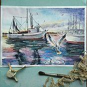 Картины и панно ручной работы. Ярмарка Мастеров - ручная работа Чайка. Акварель морской пейзаж. Handmade.