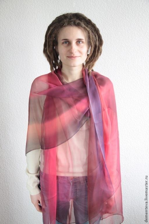 Шелковый Палантин `Ежевика`  Ручная работа – Татьяна Дементьева