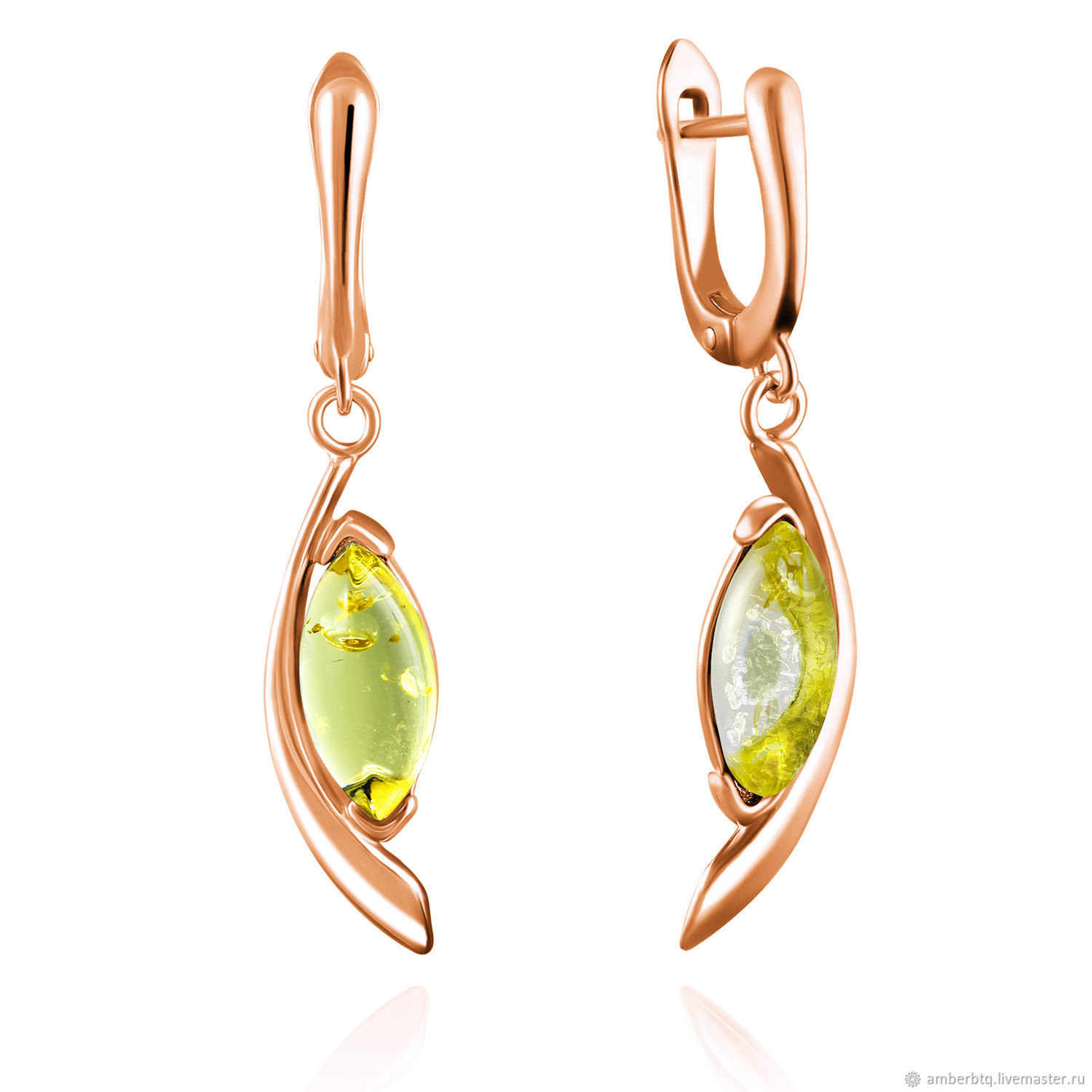 Gold-plated earrings with natural amber, Earrings, Kaliningrad,  Фото №1