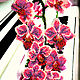 """Картины цветов ручной работы. Ветка орхидеи """"Фаленопсис"""". Юлия Будякова (YuliyaBudyakova). Ярмарка Мастеров. Подарок на день рождения"""