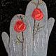 """Варежки, митенки, перчатки ручной работы. Ярмарка Мастеров - ручная работа. Купить Варежки валяные """"Зимняя роза"""". Handmade. Серый"""