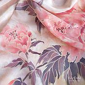 Аксессуары handmade. Livemaster - original item Shawls: Powdery pink handkerchief with peonies batik silk 100%. Handmade.