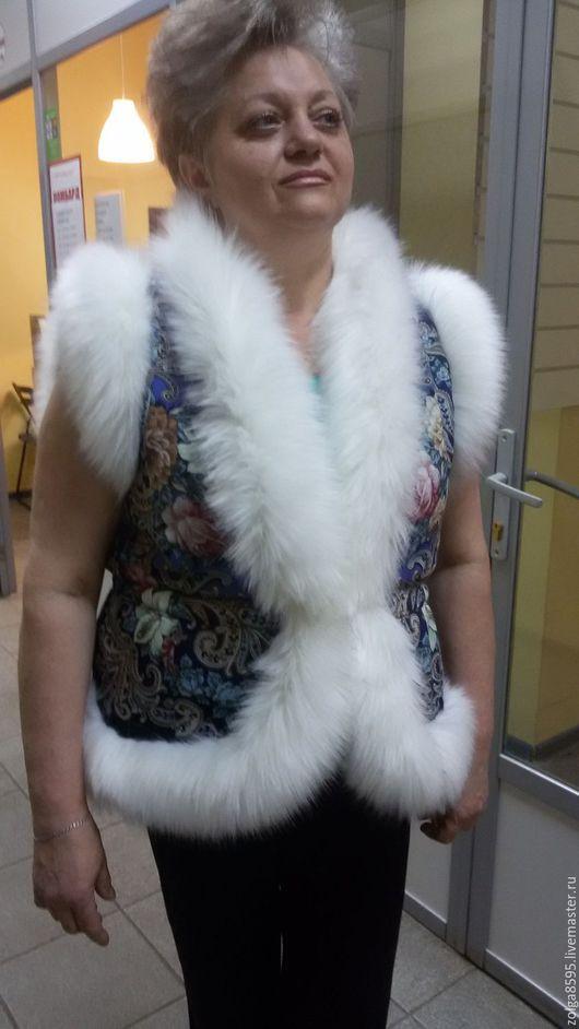 Жилеты ручной работы. Ярмарка Мастеров - ручная работа. Купить Жилет из павлопосадских платков. Handmade. Тёмно-синий, жилет, шерсть