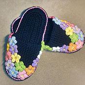 Обувь ручной работы. Ярмарка Мастеров - ручная работа Тапочки с цветами. Handmade.