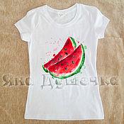 Одежда handmade. Livemaster - original item T-shirt watermelon hand painted. Handmade.