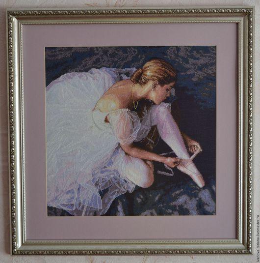 """Люди, ручной работы. Ярмарка Мастеров - ручная работа. Купить Вышитая картина """"Прекрасная балерина"""". Handmade. Сиреневый, Вышитая картина"""
