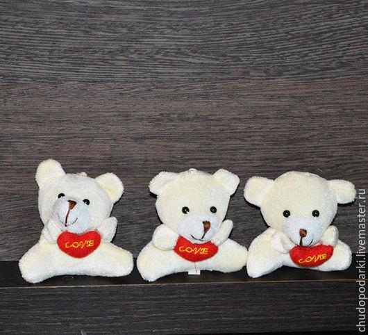 Букеты ручной работы. Ярмарка Мастеров - ручная работа. Купить Мягкая игрушка мишка с сердечком (для букетов) 6см.. Handmade.