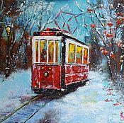Картины и панно ручной работы. Ярмарка Мастеров - ручная работа Заснеженный трамвай картина маслом. Handmade.