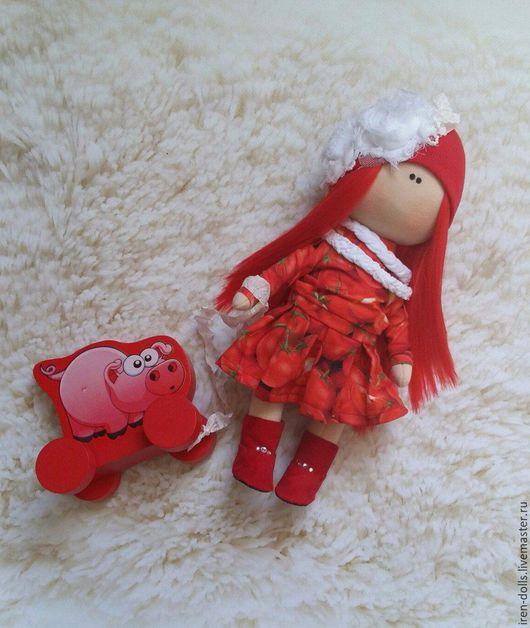 Куклы тыквоголовки ручной работы. Ярмарка Мастеров - ручная работа. Купить девочка-помидорка. Handmade. Ярко-красный, подарок девочке