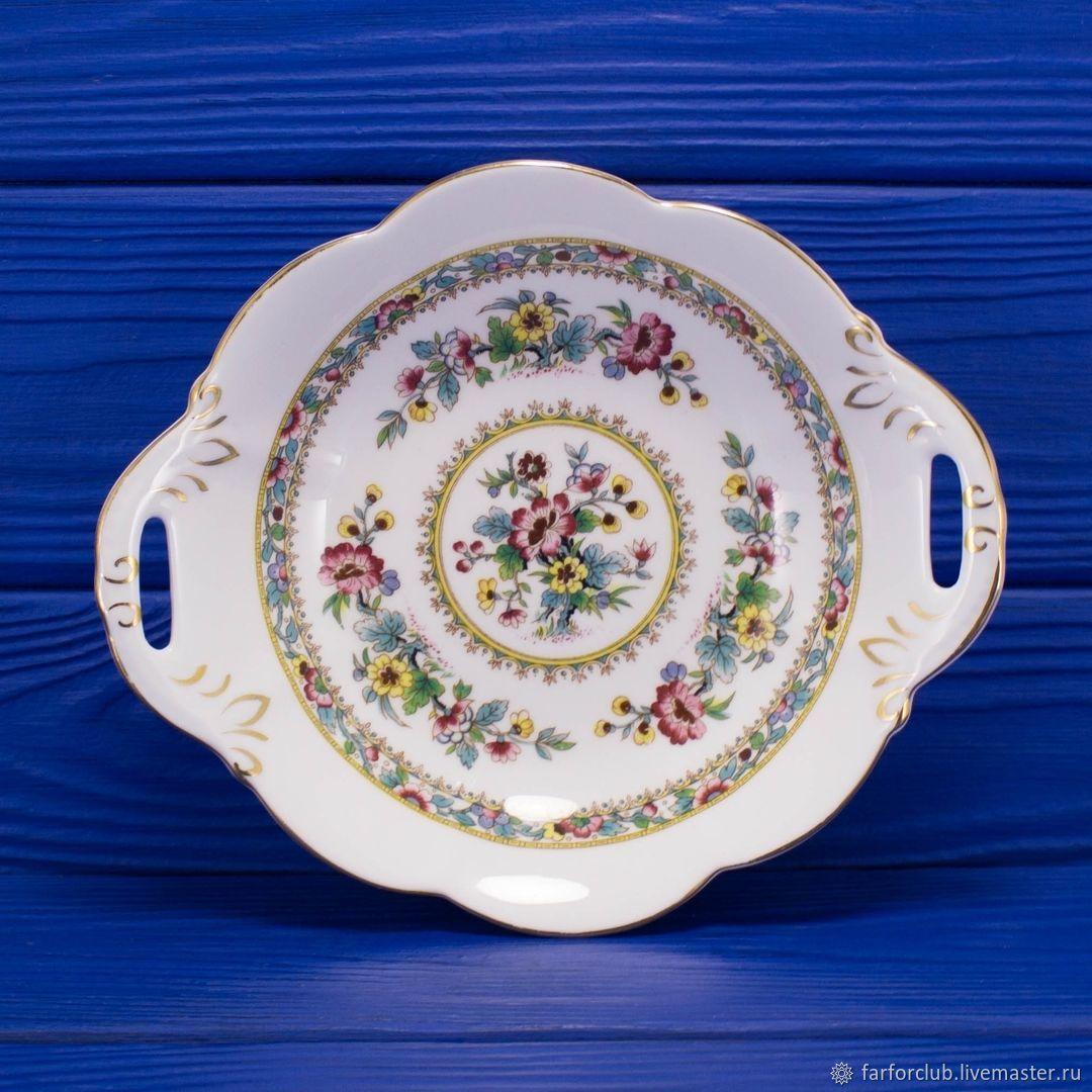 Фарфоровое блюдо с ручками дизайна Ming Rose от Coalport, Тарелки, Москва,  Фото №1