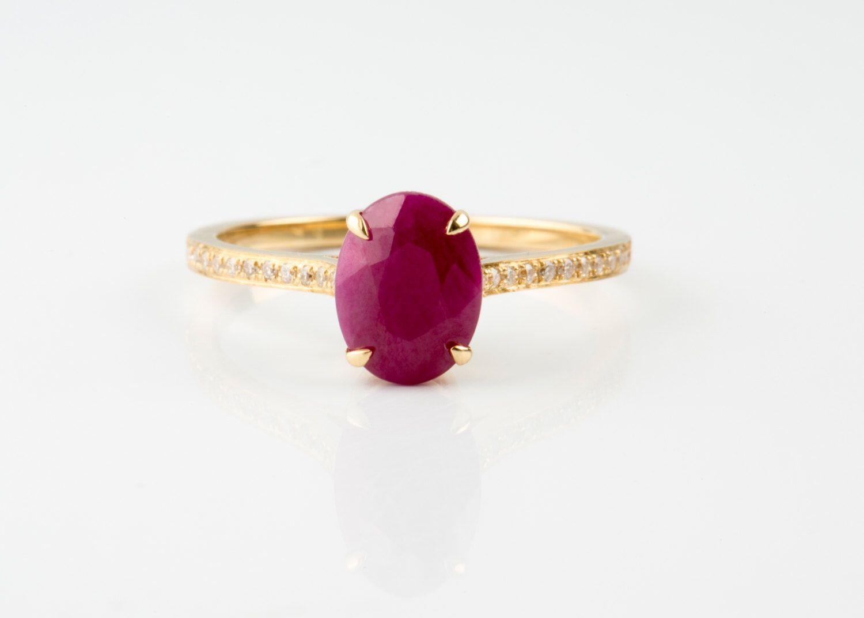 Золотое кольцо с рубином и бриллиантами, Кольца, Москва, Фото №1