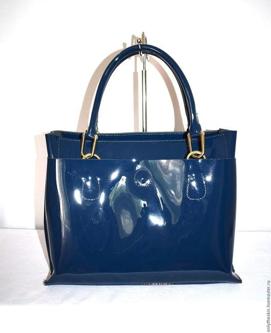 лакированная сумка лаковая натуральная кожа кожаная из кожи синяя шикарная большая женская