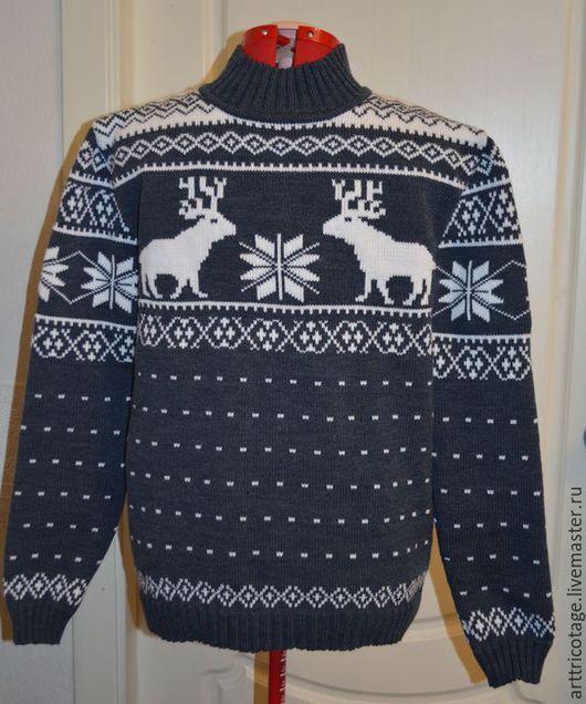 Кофты и свитера ручной работы. Ярмарка Мастеров - ручная работа. Купить Серый свитер с оленями. Handmade. Серый, олени и звезда